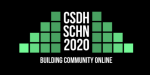 CSDH-SCHN logo. White words with steps of green blocks on either side.
